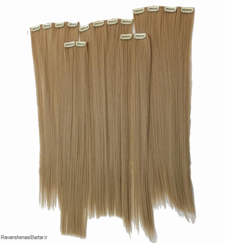 اکستنشن مو، اندازه تا گودی کمر، رنگ بلوند کنفی، مدل 3041-16