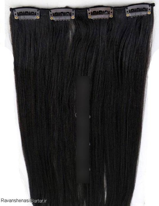 اکستنشن کلیپسی پوش دار متحرک، رنگ مشکی طبیعی، مدل 3041-1