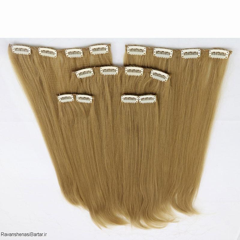 اکستنشن کلیپسی مو پوش دار، رنگ بلوند روشن، مدل3041-22
