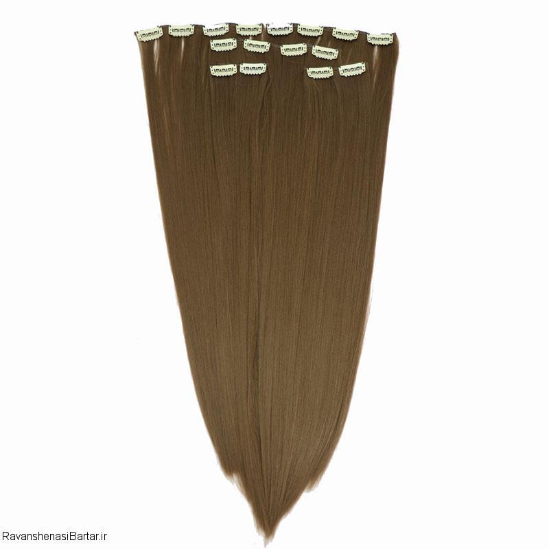 اکستنشن گیره ای مو، رنگ قهوه ای روشن، مدل 3041-12