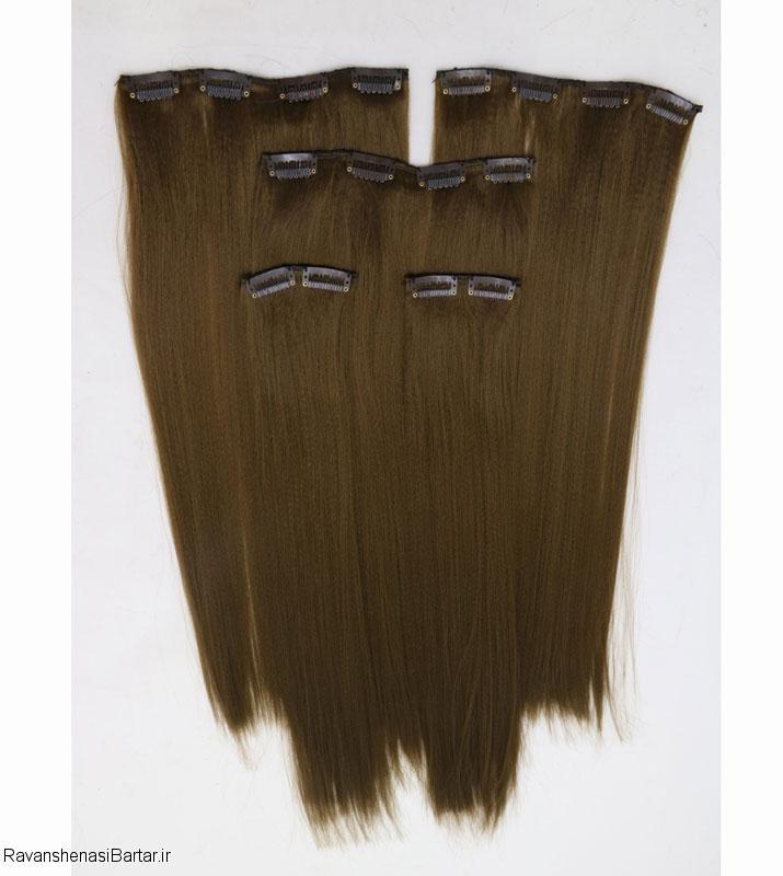 اکستنشن مو با گیره پوش دار، زنگ قهوه ای زیتونی، مدل 3041-9